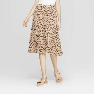 A New Day Pleated Leopard Midi Skirt